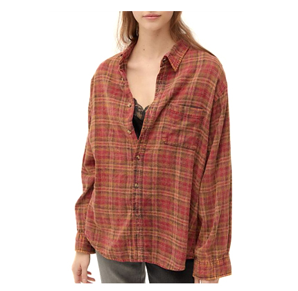 Urban Renewal Recycled Acid Wash Flannel Shirt.