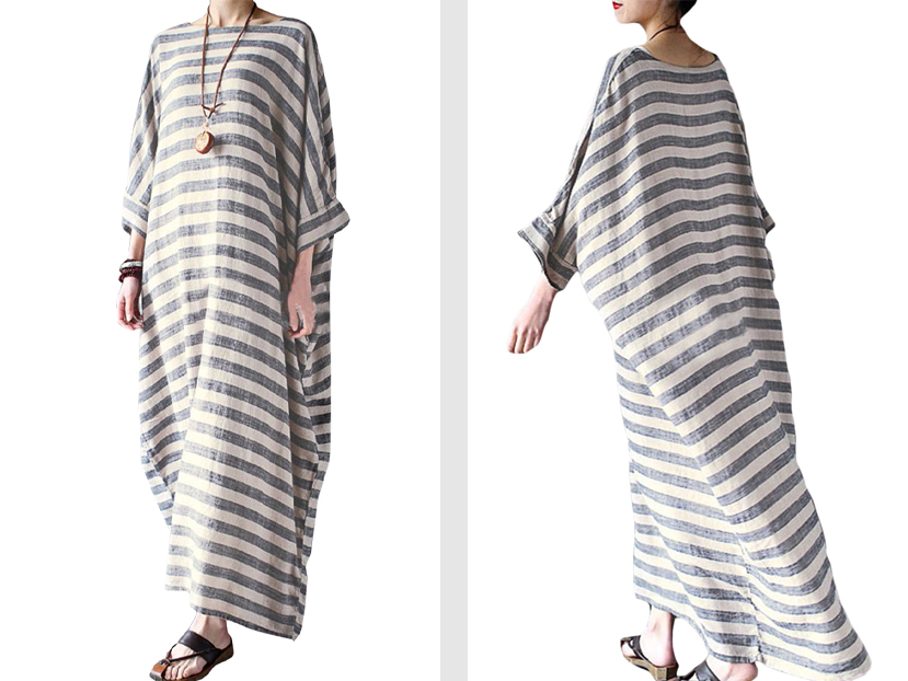 ZANZEA Women's Striped Half Sleeve Round Neck Kaftan Maxi Dresses.