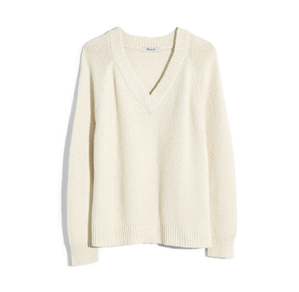 Arden V-Neck Pullover Sweater MADEWELL in Ivory.