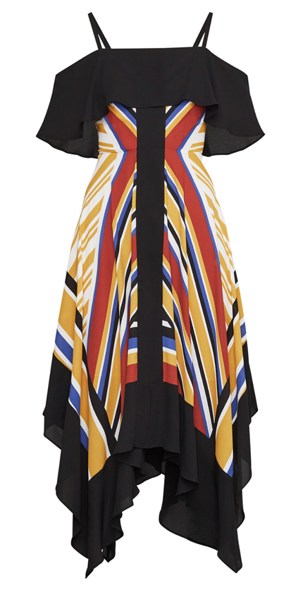 BCBG Strappy Handkerchief Stripe Dress.