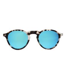Capri Sunglasses White Tortoise With Sky Blue Mirrored Lenses.