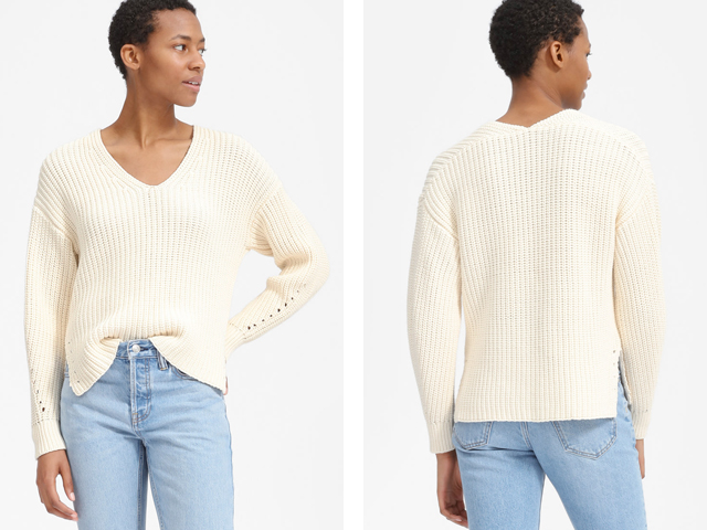 Everlane The Texture Cotton V-Neck.