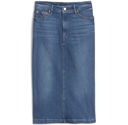 GAP High Rise Denim Midi Pencil Skirt.