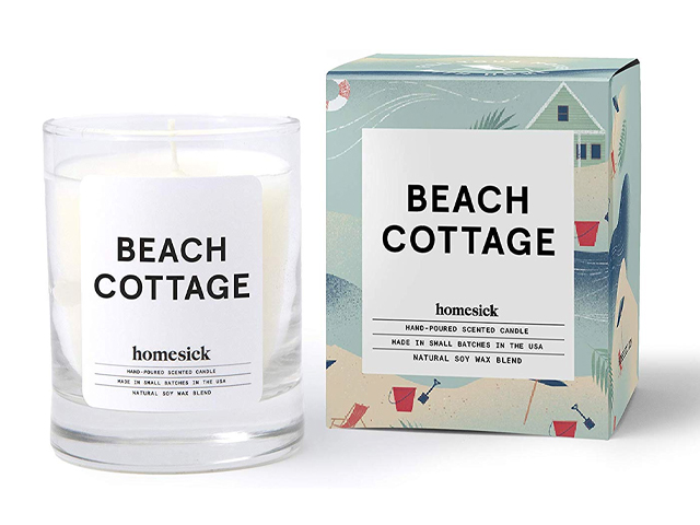 Homesick Mini Scented Candle (10 to 12 hr Burn Time) Home, 1.5 oz, Beach Cottage.