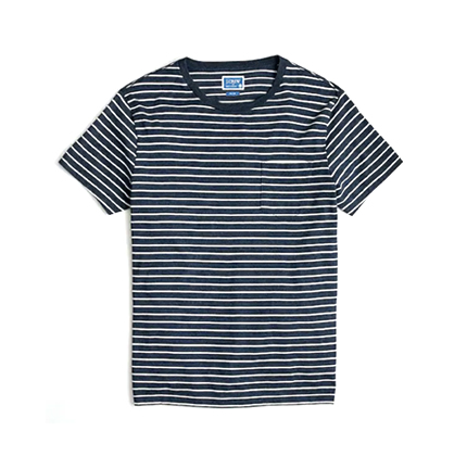 J.Crew Factory Slim Broken-in striped pocket T-shirt.