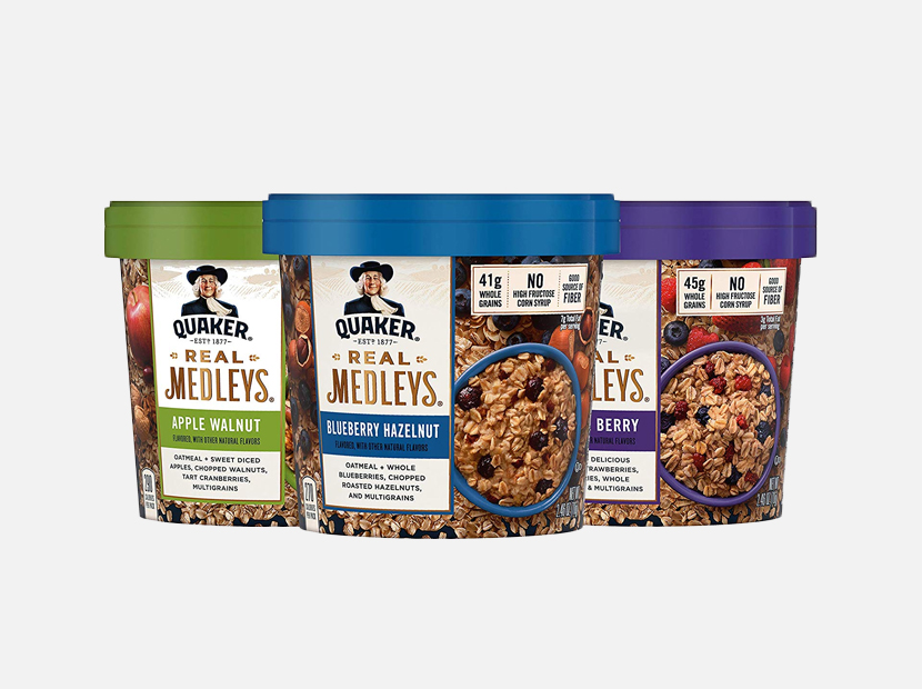 Quaker Real Medleys Oatmeal+, 3 Flavor Variety Pack.