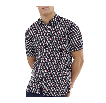 Selected Homme short sleeve printed shirt in viscose.