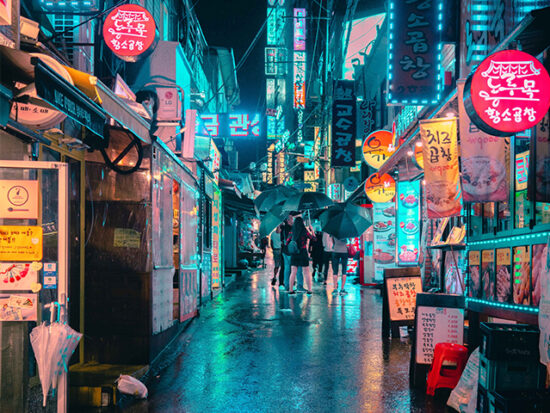 Seoul South Korea at night in the rain.