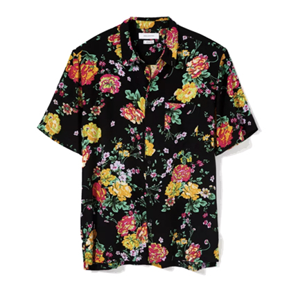 UO Liam Organic Floral Short Sleeve Button-Down Shirt.