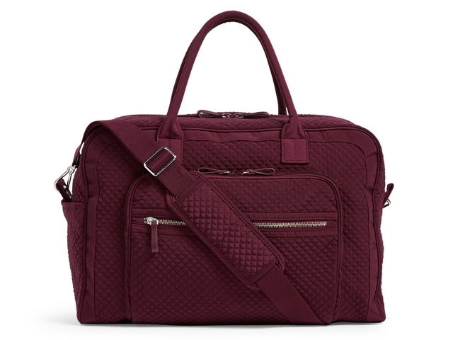 Vera Bradley Iconic Weekender Travel Bag in Mulled Wine.