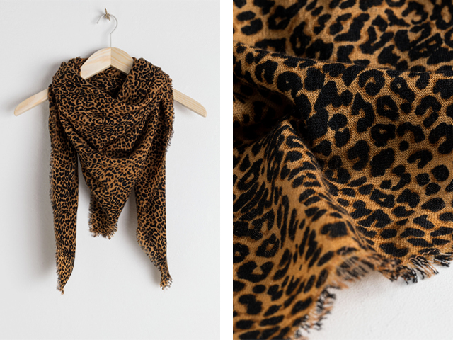 and other stories Leopard Print Wool Scarf.