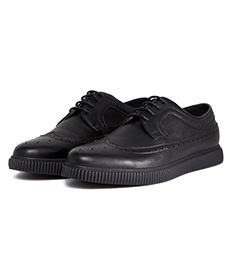 ASOS Creeper Brogue Shoes In Black Faux Leather.