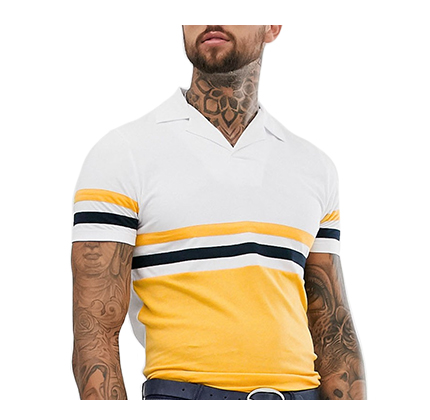 ASOS DESIGN polo shirt with revere collar with contrast body panels in yellow.