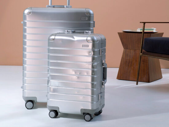 Away Aluminum Bigger Carry-on Suitcase and Checked Luggage.