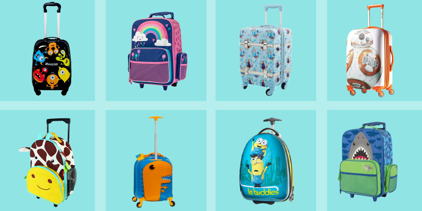 Set Of 2 13 Backpack /& 19 Rolling Suitcase for School Travel ABS Kids Luggage