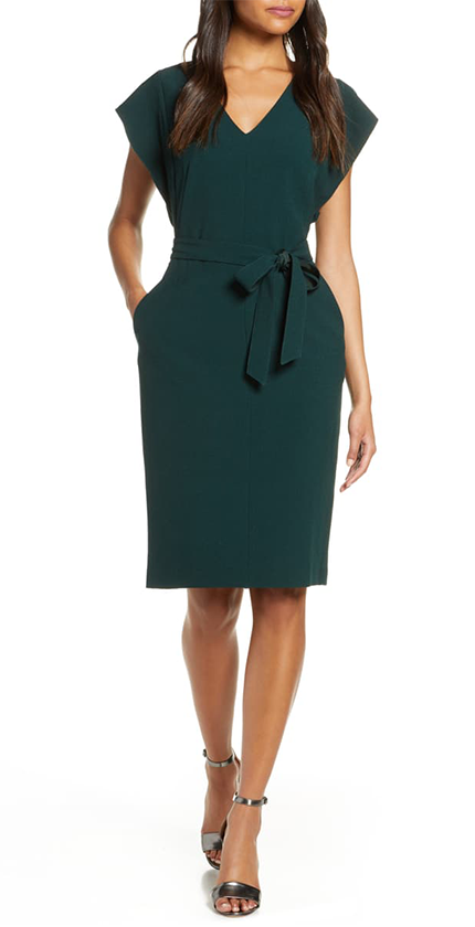 Green ruffle sheath dress by Eliza J