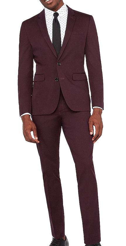 Extra Slim Merlot Cotton Sateen Stretch Suit.