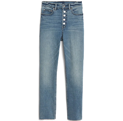 High Rise Button-Fly Cigarette Jeans with Secret Smoothing Pockets.