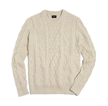 Fisherman cable crewneck sweater.