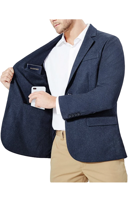 Mens navy travel blazer