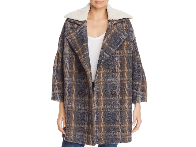 Joie Angalina Double-Breasted Plaid Coat.