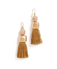 Madewell Wood Bead And Tassel Earrings.