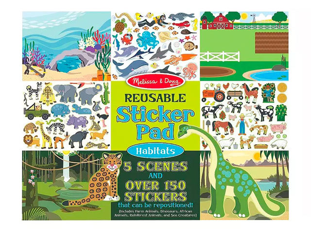 Melissa & Doug Reusable Sticker Pads Set: Vehicles and Habitats.