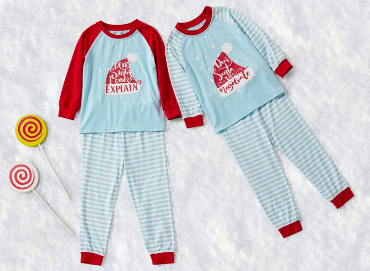 Mosaic Family Matching Sibling Dear Santa Top Stripe Tee Christmas Pajamas Set for Boy - Girl.