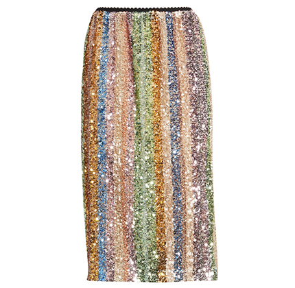 Rainbow Sequin Stripe Pencil Skirt ENDLESS ROSE.