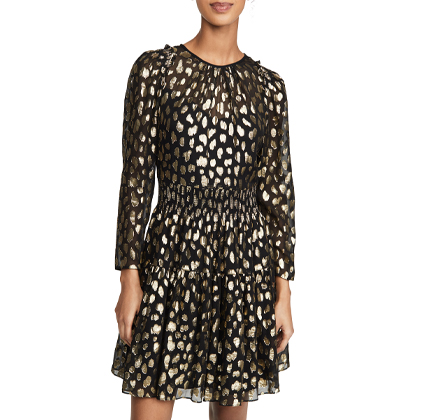 Rebecca Taylor Long Sleeve Leopard Metallic Dress.