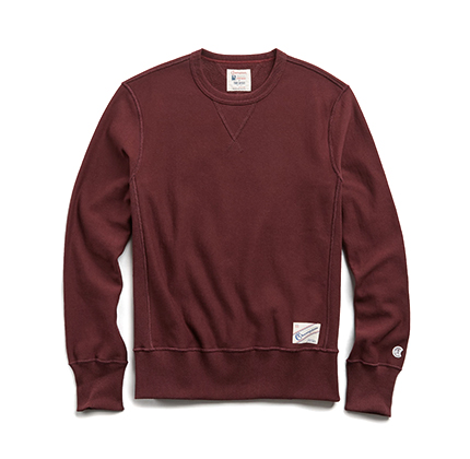 Todd Snyder + Champion REVERSE WEAVE CREW IN DEEP BURGUNDY.