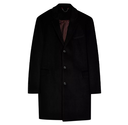 Topman Black Overcoat With Wool.