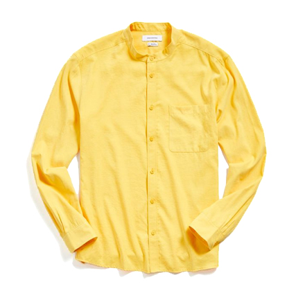 UO Faux Silk Band Collar Button-Down Shirt.