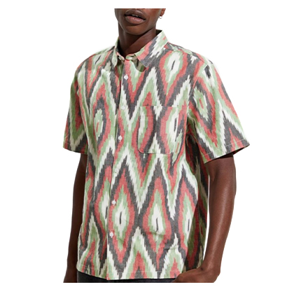 UO Ikat Short Sleeve Button-Down Cotton Shirt.