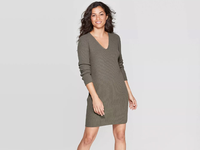 Women's V-Neck Long Sleeve Sweater Dress - A New Day.