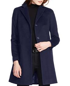 Wool Blend Reefer Coat LAUREN RALPH LAUREN.