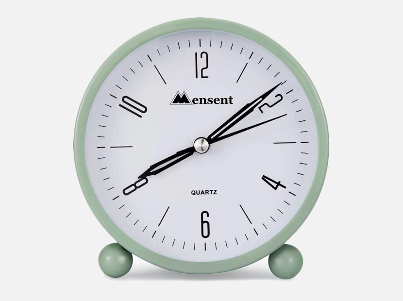 Alarm Clock.Mensent 4 inch Round Silent Analog Alarm Clock.