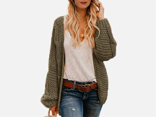 Astylish Women Open Front Long Sleeve Chunky Knit Cardigan.