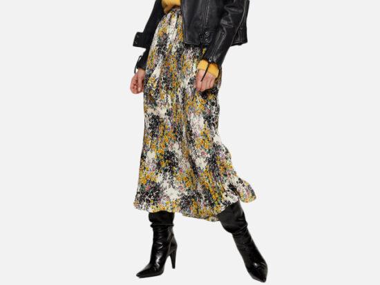 Floral Pleated Tie Waist Midi Skirt TOPSHOP.