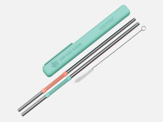 Asobu Eco-friendly Reusable Straws, Mint/Coral.