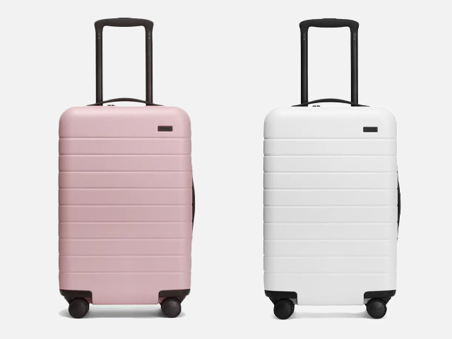 Away Luggage in Blush and White.
