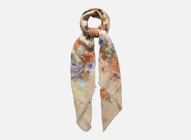 Blue & green flower foulard scarf.