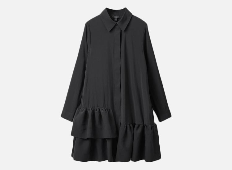 COS FRILLED SHIRT DRESS.