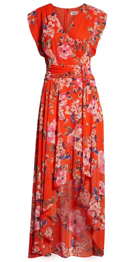 Floral High/Low Maxi Dress ELIZA J.
