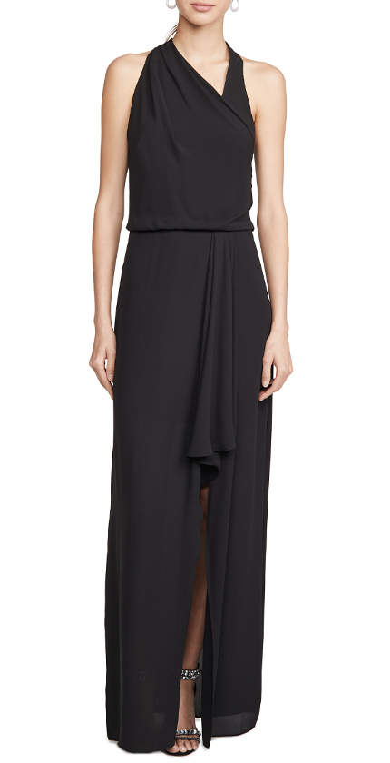 HALSTON Asymmetric Draped Gown.