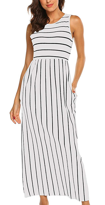 Hount Women's Summer Sleeveless Striped Flowy Casual Long Maxi Dress.
