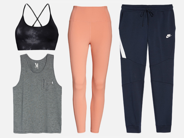Leggings and workout clothes.