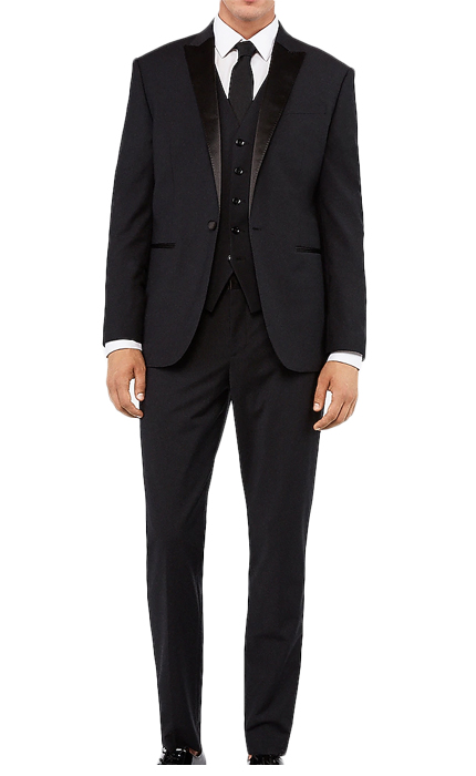 Slim Black Performance Stretch Wool Blend Tuxedo.