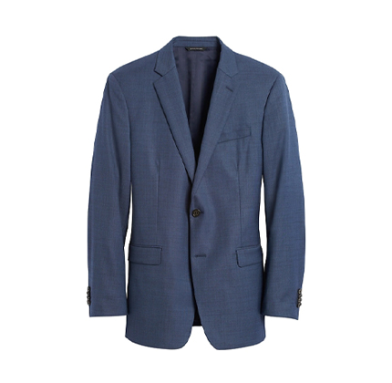 Slim Italian Sharkskin Suit Jacket.