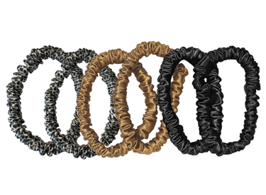 Slip Silk Skinnies Scrunchie Set - Gold, Black & Leopard.
